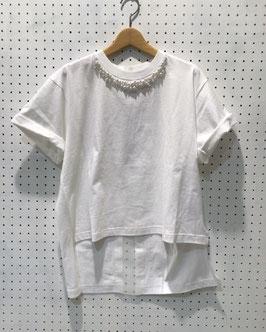 YuumiARIA パール付きTシャツ(White)