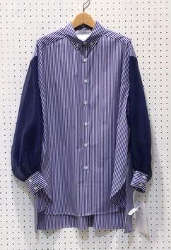 オーガンジースリーブボタンダウンシャツ