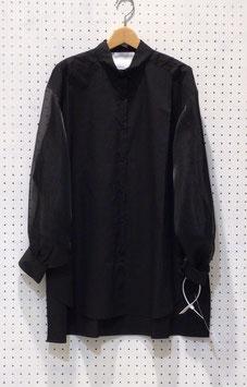 オーガンジースリーブボタンダウンシャツ(Black)
