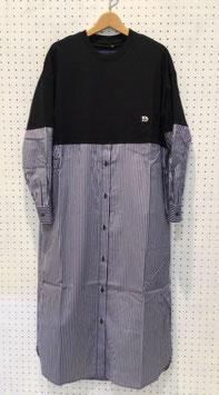 my panda コンビネーションシャツドレス(BLACK×NAVY)