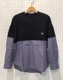 my panda コンビネーションシャツ(BLACK×NAVY)