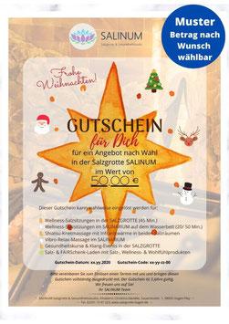 """Wert-Gutschein zum Selbstdrucken: """"Frohe Weihnachten"""" mit Stern - bunt"""