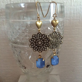 """Brass Heart & Metal Flower Vintage Sapphire MoonStone Pierce"""