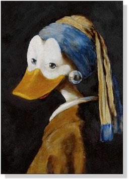 """Ente mit Perlenohrring"""
