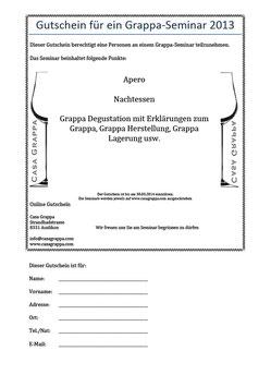 Grappaseminar - Gleich Bestellen und den Platz für's Seminar reservieren.