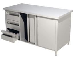 Arbeitsschränke mit Schiebetüren und Schubladenblock