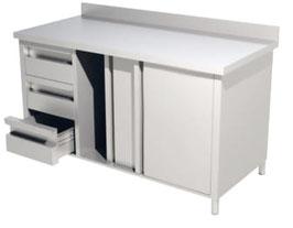 Arbeitsschränke Arbeitsschränke mit Schiebetüren und Schubladenblock mit Aufkantung