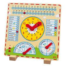 Calendrier horloge en bois  -  Goki