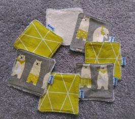 Lingettes lavables / carrés de coton réutilisables - Oursons verts