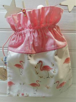Pochon à cordons - Flamants roses