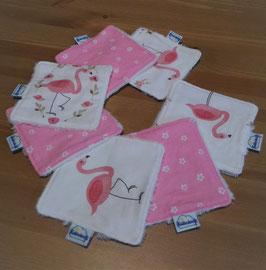 Lingettes lavables / carrés de coton réutilisables - Flamants roses
