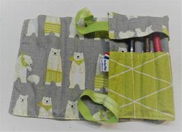 Trousse à enrouler 12 feutres - ours blancs