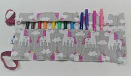 Trousse à enrouler 12 feutres - licornes gris
