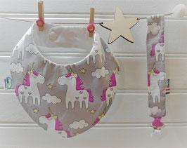 Composition 2 pièces bandana - licornes gris
