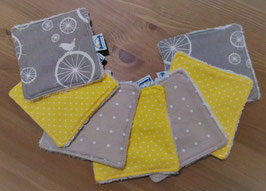 Lingettes lavables / carrés de coton réutilisables - Gris/jaune