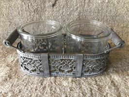 metalen houder met twee glazen potje