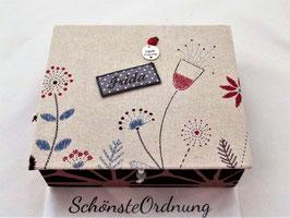 große Schmuck-Aufbewahrungsbox mit Einsatzbox, Blumenwiese altrosa grau, Personalisierbares und Langlebiges zum Verschenken an ein Mädchen