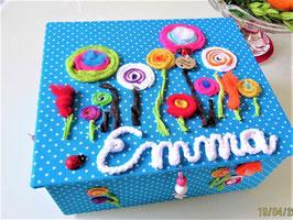Lolli Pop in vielen Farben, große Kinderschmuck-Schatulle L mit Einsatzbox 9 Fächer, personalisiert