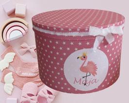 Erinnerungsbox Maja,  Namensbox in verschiedenen Farben mit Motiv - Flamingo, Regenbogen rosa, Regenbogen pastell, Stern, Einhorn - Babygeschenk Mädchen