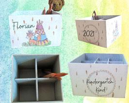 Stifte-Sortier-Box groß, personalisiert,  Boho-IndianerFuchs, Geschenk zum Kindergartenstart, ersten Schultag, zum Geburtstag verschenken
