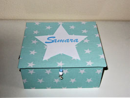 Namens-Stern, große Kinderschmuck-Schatulle L mit Einsatzbox 9 Fächer, personalisiert in vielen Farben