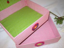 pink getupfte Stapelbox, Box ohne Deckel, Höhe 6 cm, im Außenstoff deiner Schmuckbox, Schubladenbox