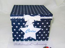 weiße, gefranste, gestärkte Schleife aus Baumwollstoff für Erinnerungsbox  - Zubehör
