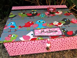 bunte Vögelchen, Schmuck-Turm , Kästen gestapelt, stabile Mädchenschmuckbox personalisiert