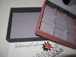 Leinenstoff altrosa, Stapel-Box ohne Deckel, Höhe 6 cm, im Außenstoff deiner Schmuckbox, Schubladenbox