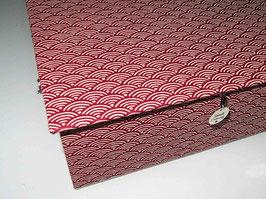 kleine Schatzkiste, mit Japanstoff Wellen rot klein bezogen, personalisierbar, edles Mitbringsel zum Muttertag