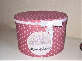 Erinnerungsbox Mathilda,  Namensbox in verschiedenen Farben mit Motiv - Regenbogen pastell, Stern, Flamingo, Einhorn - Babygeschenk Mädchen