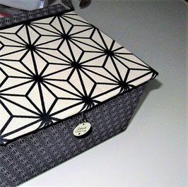 personalisierbare Schmuck-Schatulle, Schatzkiste, Asanoha Dunkelblau - Weiß, ein individuelles Geschenk, mit viel Zubehör