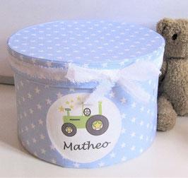 Erinnerungsbox Matheo,  Namensbox in verschiedenen Farben mit Motiv - Bagger, Traktor (Bulldog), Stern, Regenbogen - Babygeschenk Junge