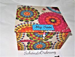 Schmuck-Turm, Kästen gestapelt, stabile Mädchenschmuckbox personalisiert, bunte Mandalas
