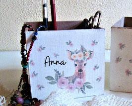 große, personalisierte Stifte-Sortier-Box Boho-RosenReh Theresa, Geschenk zum Kindergartenstart, ersten Schultag, zum Geburtstag verschenken