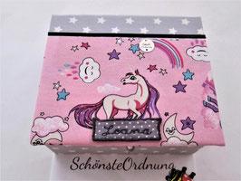 Sterne und Einhorn weiß grau, große Kinderschmuck-Aufbewahrungsbox L mit Einsatzbox 9 Fächer, personalisiert