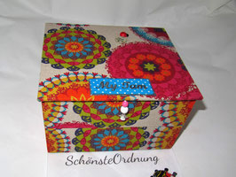 peppig - fröhliche, große Namensbox, Kinderschmuckkästchen - bunte Mandalas schön