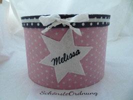 personalisierte Erinnerungsbox Melissa mit Filzstern, Kinderzimmer-Deko-Box mit Namen, Taufgeschenk Mädchen