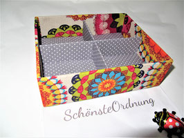 bunte Mandalas, Box ohne Deckel, Höhe 6 cm, im Außenstoff deiner Schmuckbox, Schubladenbox