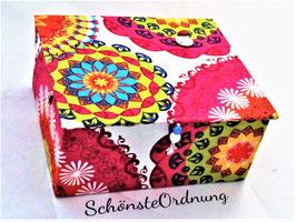 bunte Mandalas, große Kinderschmuck-Aufbewahrungsbox L mit Einsatzbox 9 Fächer, personalisiert