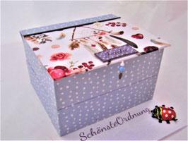 himmelblau gepunktete Stapelbox, Box ohne Deckel, Höhe 6 cm, im Außenstoff deiner Schmuckbox, Schubladenbox