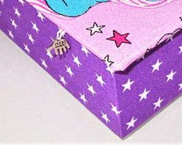 lila Stern, Box ohne Deckel, Höhe 6 cm, im Außenstoff deiner Schmuckbox, Schubladenbox