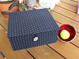 personalisierbare Schatulle, Asanoha Blau, für Stifte, als Schreibtischbox, Schlüsselbox, ein individuelles Geschenk für Papa zum Vatertag