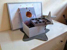Traumfänger himmelblau, sehr großer  Kinderschmuckkasten 4 Fächer,  mit Einsatzbox 10 Fächer - ein großartiges, personalisiertes Geschenk