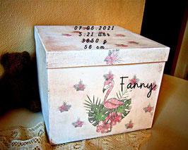 personalisierte Erinnerungsbox Fanny, süßes Patengeschenk, Erinnerungskiste zur Geburt, Taufe schenken, Babyzimmerdeko, Baby-Andenken-Box