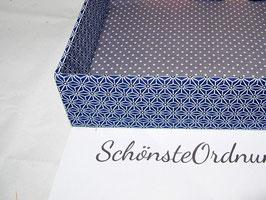 Asanoha Dunkelblau, Stapel-Box ohne Deckel, Höhe 6 cm, im Außenstoff deiner Schmuckbox, Schubladenbox