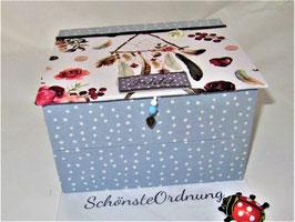 Traumfänger himmelblau, Schmuck-Turm, Kästen gestapelt, stabile Mädchenschmuckbox personalisiert