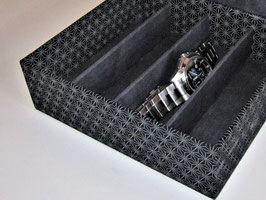 Stapel-Box für mittelgroß und XL ohne Deckel, Höhe 5 cm, im Außenstoff deiner Box, Asanoha Dunkel-Blau, Schubladenbox, mit Fächern