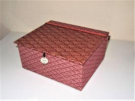 große Schmuck-Aufbewahrungsbox mit Einsatzbox, japanische Wellen rot groß und klein, Personalisierbares und Langlebiges zum Verschenken