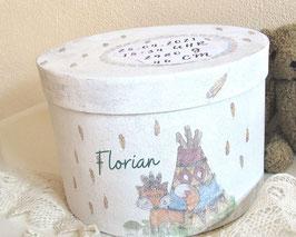 personalisierte Erinnerungsbox Florian, süßes Patengeschenk, Erinnerungskiste zur Geburt, Taufe schenken, Babyzimmerdeko, Baby-Andenken-Box